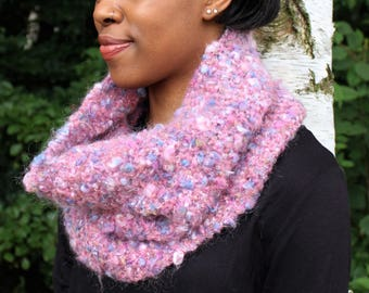 Lilac Loop/Infinity Scarf/Cowl, Acrylic/Mohair/Nylon Mix