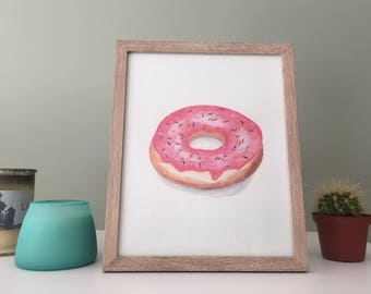 Pink Donut with Sprinkles | Watercolor | Print | Food Art | Kitchen Art | Donut Print | home decor | kitchen decor | food print