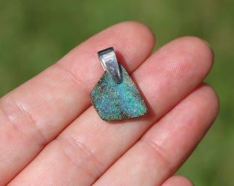 Sweet & Petite Freeform Queensland Boulder Opal Pendant with Solid Sterling Silver Bail - Australian Opal (#P5)