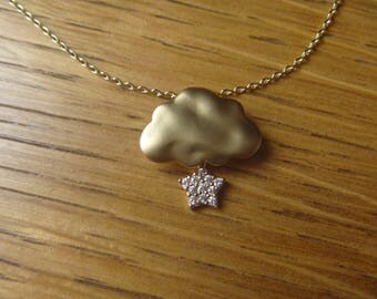 Autumn cloud, sparkly gold stars: necklace