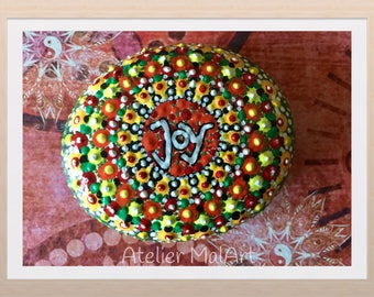 Painted Stone of dot painting, gift, painted stones, rocks, joy, meditation