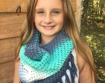 Handmade crochet cowl with fringe