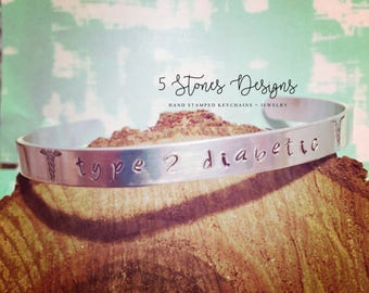 Diabetes Bracelet, Medical Alert, Medical ID, Medical Alert Jewelry, Type 1 Diabetes, Med ID, Medical Bracelet, Cuff Bracelet