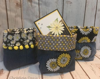 Repurposed Denim Daisy Bins & Card