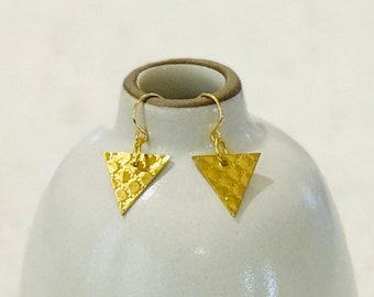 Textured Brass Equilateral Triangle Earrings