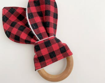 Organic wood, teething ring, teething toy, teether, wooden teether, baby teether, teething ring, wood teether, plaid teether, baby boy gift