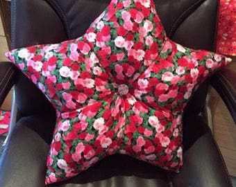 Star Shaped cushions, rose star cushion, Pink and red roses cushion, statement cushion, limited edition