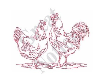 Rooster & Hen - Machine Embroidery Design