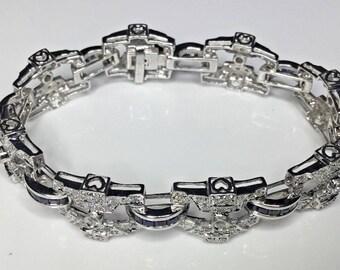"Estate 18K White Gold 7.00 CTW Diamond & Sapphire 7.25"" Tennis Bracelet 39 Grams"