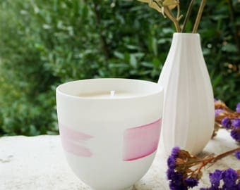 Scented candle, limoges's porcelain, vegan candle, soy wax, handcrafted in france