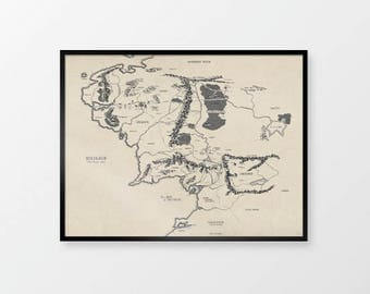 Map of Middle Earth | Antique Map from The Lord of The Rings | Frodo, Gandalf, Elvish | Map of Mordor, Hobbiton, Rivendel | Map of Tolkien