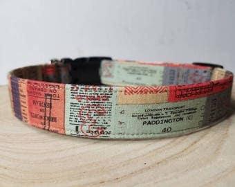"Cool Dog Collar / Vintage Ticket Dog Collar / Colorful Dog Collar  / Adventure Dog Collar / Wanderlust  Gift / ""The Paddington"""