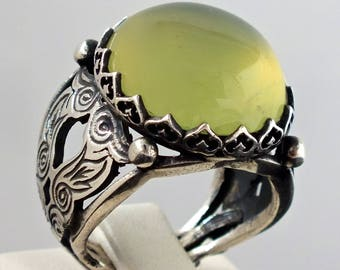 Silver Mens Ring neon Idocrase Sterling 925 unique handcrafted artisan jewellery