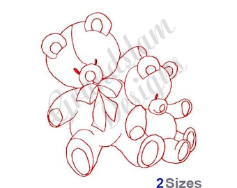 Teddy Bear Buddies Redwork - Machine Embroidery Design