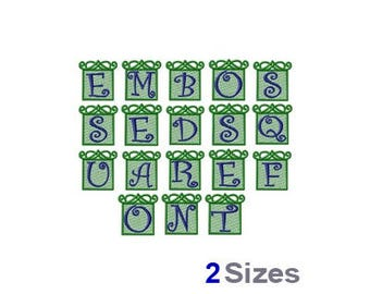 Embossed Square Font - Machine Embroidery Font