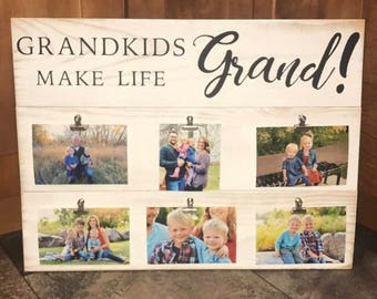 Decorative Wood Sign Grandkids Make Life Grand with Photo Clips