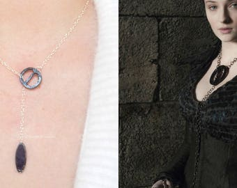 Sansa Stark Cosplay Necklace, Game of Thrones, House Stark, Sterling Silver, Dragon Glass, Lady of Winterfell