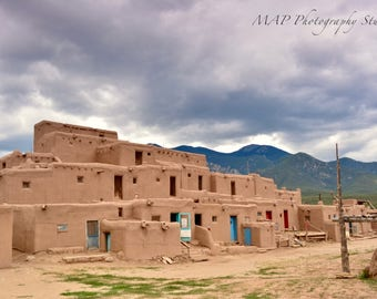 Taos Pueblo, photography, color, New Mexico, sky, desert, mountains, storm, Native American, adobe
