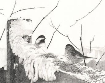 B1  Original Artwork//The Snow Capped Cafe//Chickadees/Birds in the Snow//Birds in Watercolour