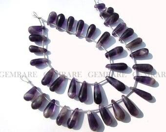 Christmas Sale Natural Amethyst Chevron Smooth Drops beads, Quality B, 5x10-6.50x18.50 mm, 18 cm, 19 Pieces, AMETH-046/1, Semiprecious Stone