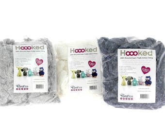 Hoooked Recycled Fluffy Cotton Filling Mix Amigurumi Kit Stuffing ALL COLOURS