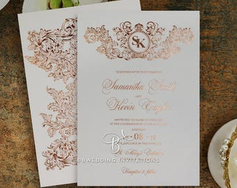 Vintage Wedding Invitation, Baroque Print, Real Foil 116081