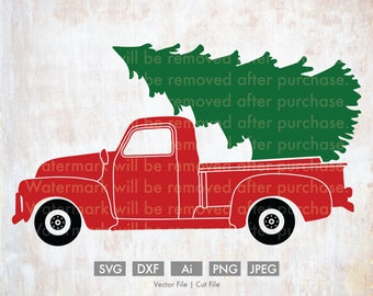 Christmas Tree with Old Fashion Truck  - Cut File/Vector, Silhouette, Cricut, SVG, PNG, JPEG, Clip Art, Download, Evergreen, Holidays, Retro