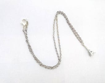 Eiffel Tower silver colored chain