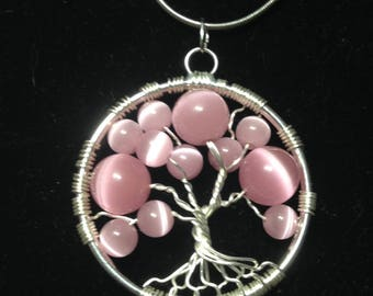Sale! Valentina's Day.Pink Tree of Life Necklace Pendant *Tenderness* Artistic.Wire Silver Plated.Tarnish Resistant Silver. Pink Glass Beads