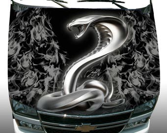 Gray Fire Cobra Hood Wrap Wraps Sticker Vcinyl Decal Graphic