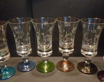 Set of 6 x Multi Coloured Liqueur Glasses, Barware, 1950s Drinking Glasses, Collector, Parties, Vintage Glassware.