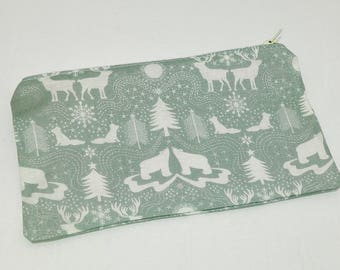 Forest Critter Christmas Novelty Zipper Pouch makeup bag; pencil case; gift for her; cosmetic bag; carry all; gadget case; birthday; winter
