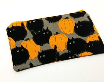 Black Cats and Pumpkins Halloween Zipper Pouch - makeup bag; pencil case; gift for her; cosmetic bag; carry all; gadget case; birthday