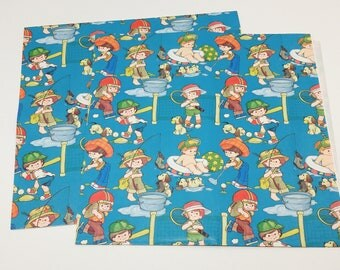 Lot of Vintage Children's Wrapping Paper without Packaging - gift wrap; children's; collectible; 1970's; 1980's; rare; OOAK