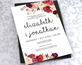 Printable Wedding Invitation Template. Burgundy Floral Watercolor Wedding Invite. DIY Wedding Invitation.PDF Instant Download VRD137AHK