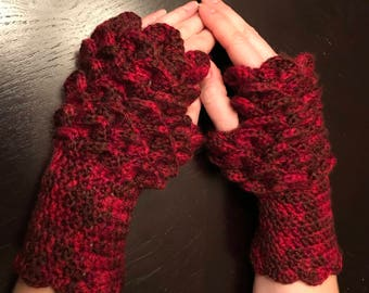 Red Dragon Scale Fingerless Gloves
