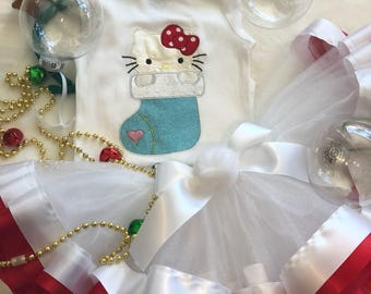 Hello Kitty Christmas set-Christmas celebration outfit-My first Christmas onesies tutu set- Christmas Girl Clothes CH005