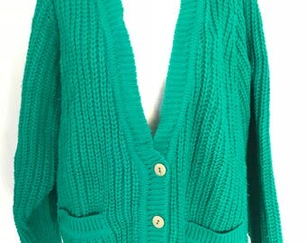 90's Oversized Green Knitted Cardigan