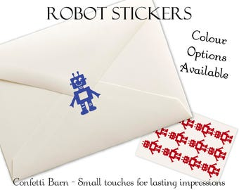 Robot Stickers - Kids Party - Party Invitations - Removable Vinyl - Envelope Sealing Stickers - Planner Stickers #92