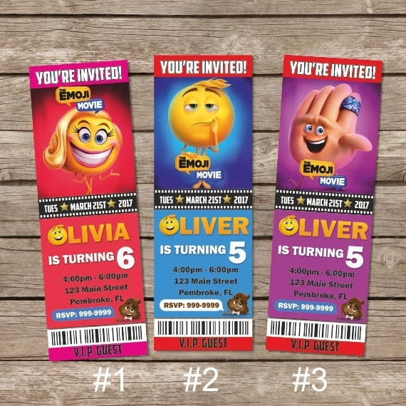The Emoji Movie Ticket Invitation Birthday Invite