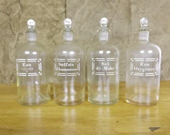 Vintage French Pharmacy / Apothecary / Chemistry Bottles x four