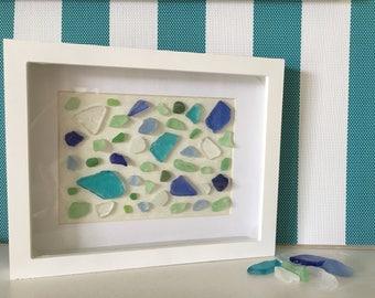 Sea Glass art, Wall decor, Ocean lovers, nautical decor, beach decor, home decor, shadow box