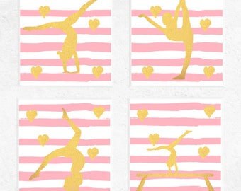 Gymnastics Prints | Gymnastics Printables | Gymnastics Gifts | 4 Set | Pink and Gold | Girls Bedroom Art | Sports Art