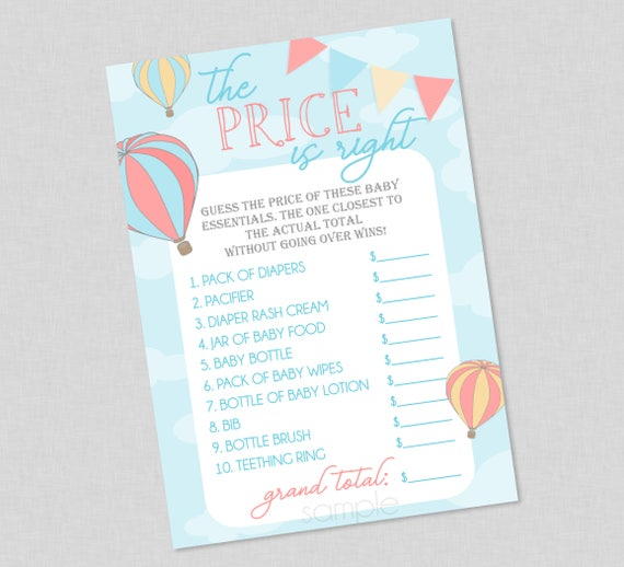 Sweet Elegant Up Up And Away Balloon The Price Is Right Baby Shower