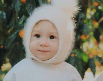 Pom pom knit pixie hat