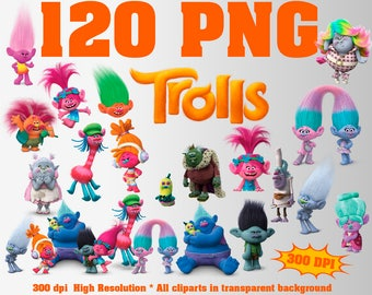 Trolls Clipart | 120 PNG 300 Dpi | Silhouettes | Trolls Party | Poppy DJ Suki Branch Fuzzbert Diamond Biggie Creek Peppy Gristle Bridget