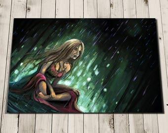 Goth Female Art Print - Rain Art - Isolation - Emotion Art - Dark Art - Female Painting Print - Dark Fantasy Art - Rain Prints - Brave
