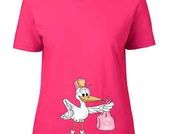 T-SHIRT for pregnancy maternity wear stork carrying a baby girl in a pink bag for pregnant lady CUSTOMIZABLE with name or phrase