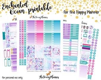 Enchanted Ocean Weekly Kit    Printable Planner Stickers