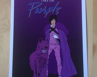 Take the Purple Prince as Jon Snow with Dire Wolf Game of Thrones Print